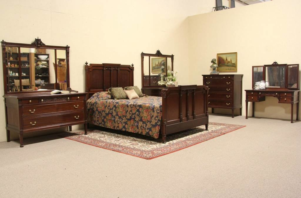 Best Carved Mahogany 5 Pc 1910 Queen Size Bedroom Set Ebay With Pictures