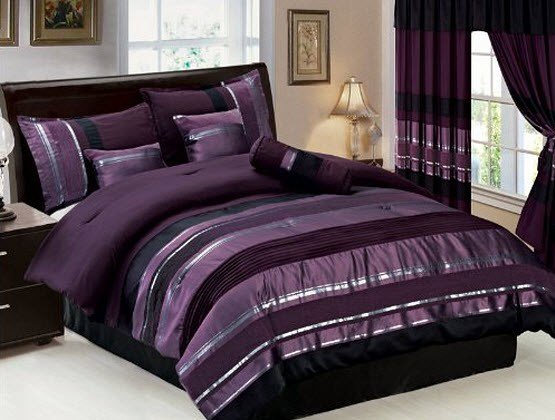 Best Purple And Gray Bedroom Black Silver And Purple Bedding With Pictures