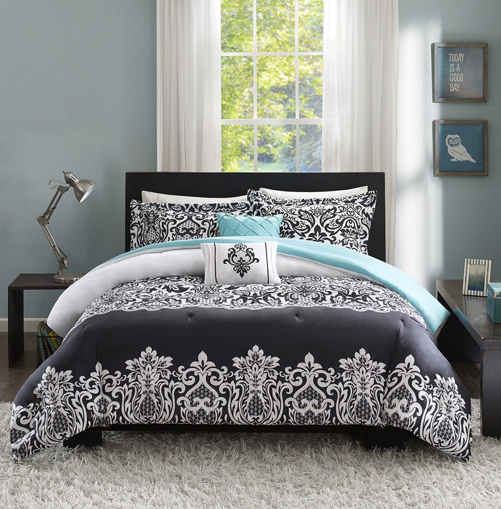 Best Black White Teal Blue Comforter Set Medallion Scroll T**N With Pictures