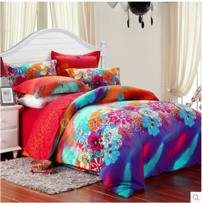 Best Luxury Modern Floral Teal Queen Size T**N Bedding Sets With Pictures