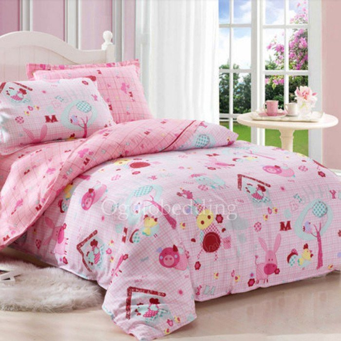 Best Luxury Patterned Pink Discount Kids Bedroom Bedding Sets With Pictures