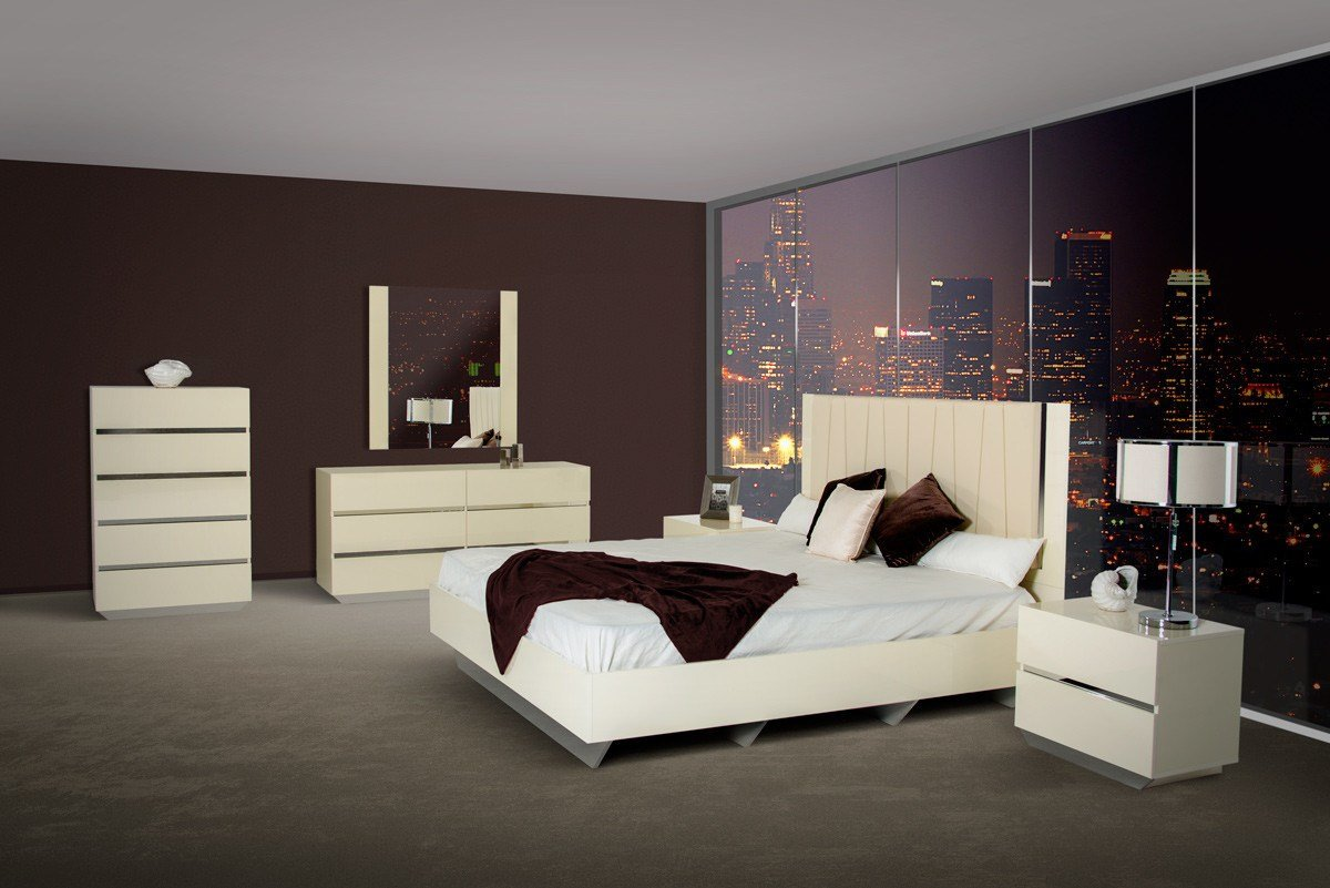Best Luxor Modern Beige Lacquer Italian Bedroom Set With Pictures