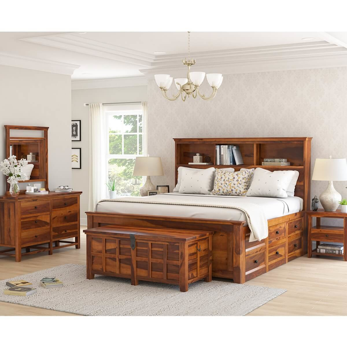 Best Mission Modern Solid Wood King Size Platform Bed 7Pc With Pictures