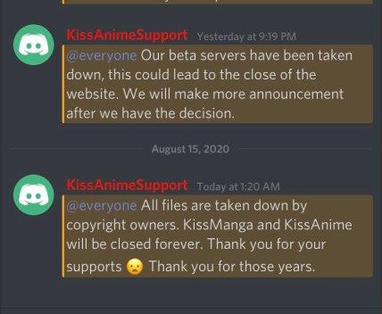 KissAnime discord announcement