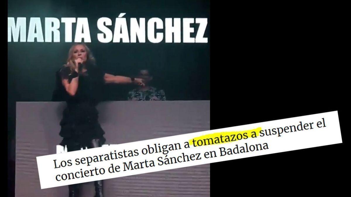 VÍDEO | Se suspende el concierto Marta Sánchez por lanzamiento de huevos (tomates según OK Diario)