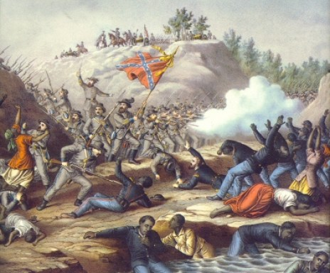 The Battle of Ft. Pillow, a lithograph from Kurz and Allison. Image from Blackpast.org, accessed July 14, 2016.