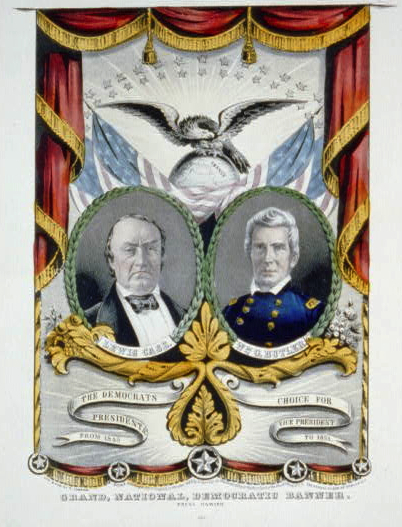 """Grand, national, democratic banner. Press onward,"" 1848. A campaign banner for Democratic presidential candidate Lewis Cass and William O. Butler, produced by Nathaniel Currier, 1848. People often displayed these banners at home. Courtesy of the Library of Congress."