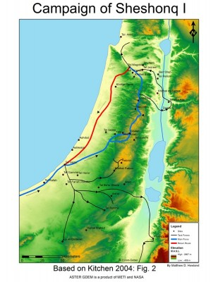 Figure 3. Map of Sheshonq I campaign in the southern Levant (map by Matt Howland, UC San Diego).