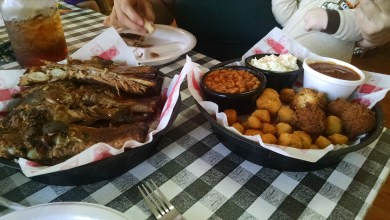 "Stacey and I had a ""rack of ribs for two"". They had neglected to specify for two of what. My guess: adult tyrannosaurs."