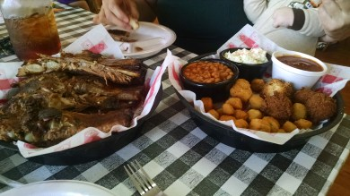 """Stacey and I had a """"rack of ribs for two"""". They had neglected to specify for two of what. My guess: adult tyrannosaurs."""