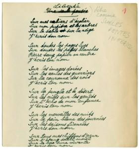 """Manuscrit original du poème """"Liberté"""" de Paul Eluard. © Coll. Musée de la Résistance nationale"""