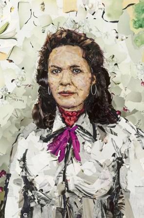 Louisette Ighil Ahriz, graphisme-collage, 130x95cm (Paris, 2010). Extrait de « Sous les pavés, le Gitan » ©Mustapha Boutadjine/Editions Helvétius/Artbribus/ADAGP 1114563