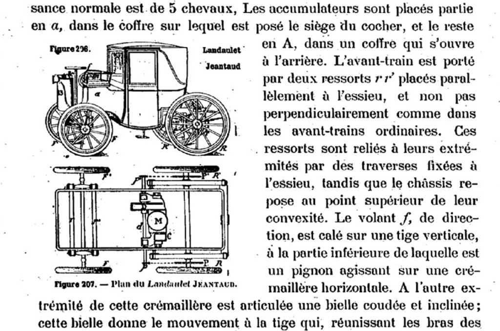Schéma du landaulet électrique Jeantaud publié dans la revue « Le chauffeur » n°43, 11 octobre 1898.