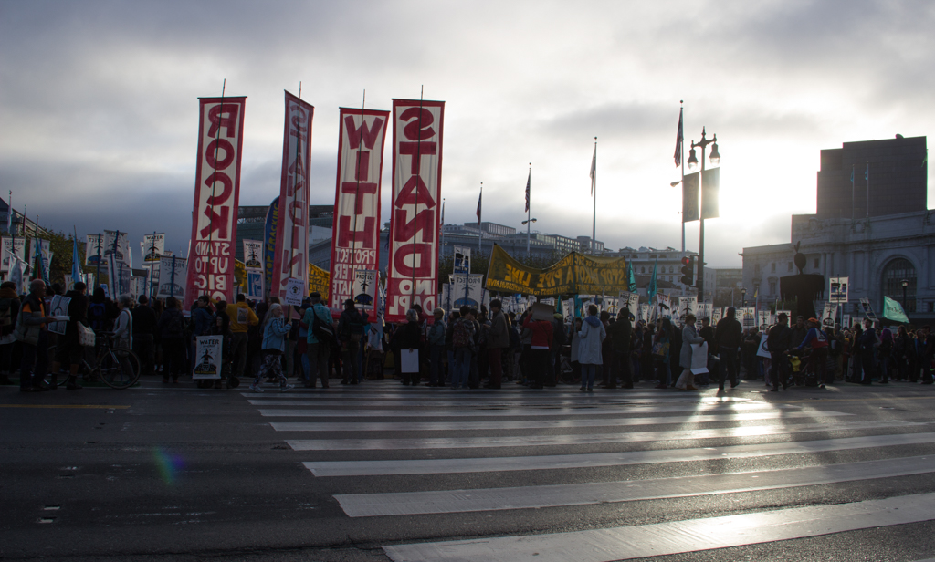 Massive sunrise gathering at SF City Hall with march to the Army Corps of Engineers in support of the Standing Rock Sioux of North Dakota, and their efforts to stop the Dakota Access Pipeline (DAPL) - San Francisco, CA - November, 2016