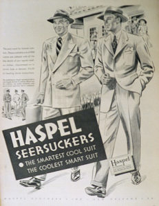 advertisement of Haspel seersucker suit.