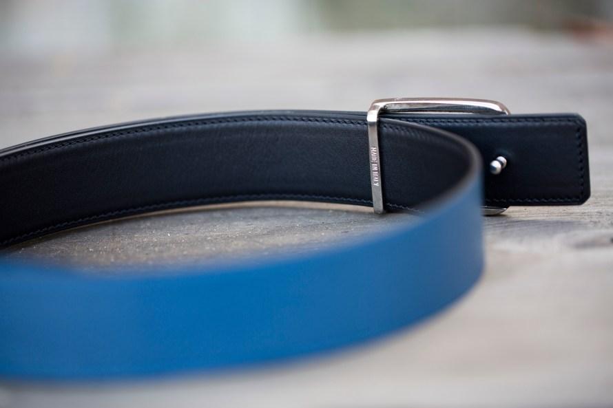 atelier bertrand leather belt reversible blue black