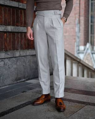 Gurkha style pleated trousers pants men