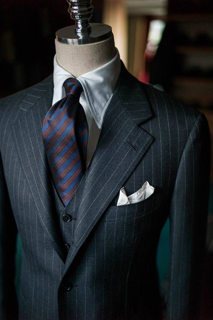 Long point OCBD under a 3PC pinstripe suit with gorgeous lapels.