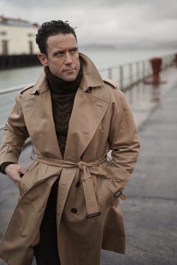 cotton trench coat in beige