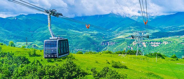 Taking a world-record-setting cable car ride at Tatev in Halidzor