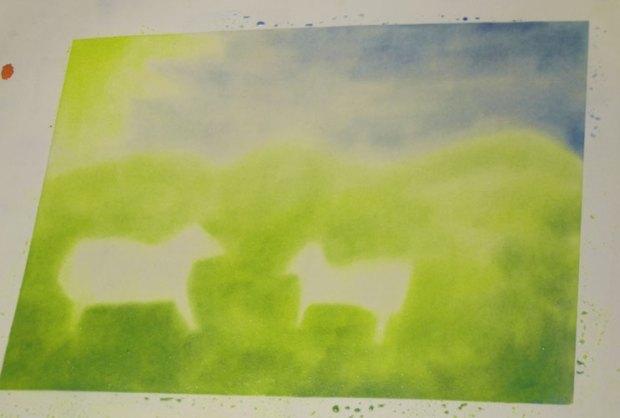 """Sixième jour : """"Terre anime toi d'animaux de toutes sortes""""aquarelle d'Isabelle"""