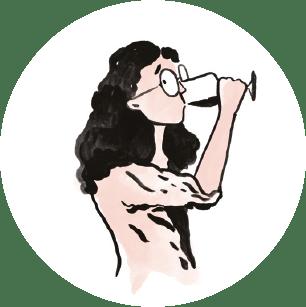 Illustration sommelière qui déguste journal du sommelier