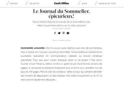 Extrait de l'article du Gault & Millau d'Avril 2021 sur le Journal du Sommelier