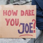 January 13, 2020, Munich, Bavaria, Germany: A sign referencing Greta Thunberg and Joe Kaeser of Siemens. In response to