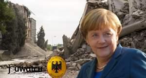 Angela Merkel und ein zerstörtes Land; Bild: © jouwatch Collage