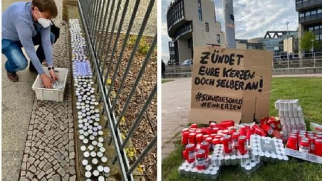 Kerzen-Protest vor Staatskanzleien (links: Potsdam), Rathäuser und Landtage (rechts: Düsseldorf) Tee- und Grablichter gelegt. (Quelle: Twitter, Risikogruppen/Candma4)