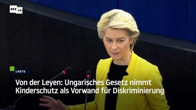 Von der Leyen: Schutz von Homosexuellen wichtiger als Kinderschutz?!; Bild: Startbild Yotubevideo RT DE