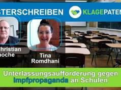 Unterlassungsaufforderung gegen Impfpropaganda an Schulen – Musterschreiben von Dr. Knoche; Bild: Startbild Youtube Klagepaten