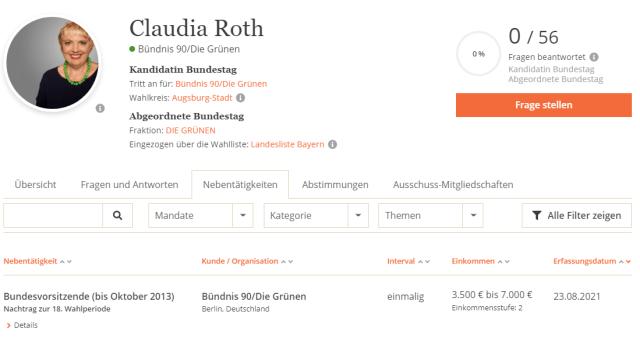 Nachgemeldete Nebeneinkünfte von Claudia Roth; Bild: Screenshot Abgeordnetenwatch
