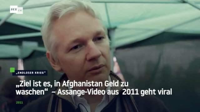 """""""Ziel ist es, in Afghanistan Geld zu waschen"""" – Julian Assange; Bild: Startbild Youtubevideo RT DE"""