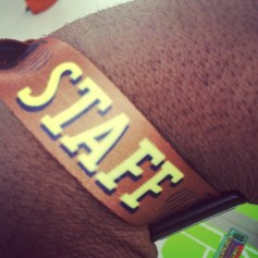 Shot of my weekend staff wristband.