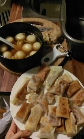 Pan fried Nian Gao(brown sugar cake) and sweet dumpling