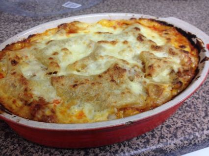 Alternative version baked with fish in white sauce