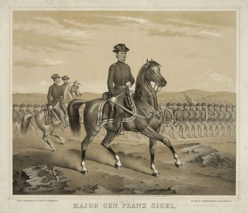 Image of Franz Sigel on horseback, facing right, with troops lined up behind him