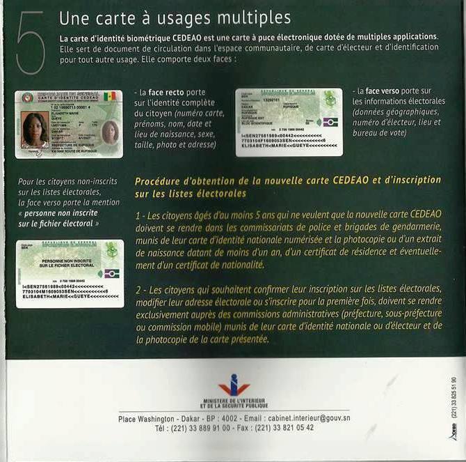 nouvelle carte didentite biometrique cedeao
