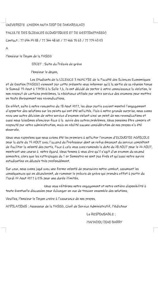 FASEG préavis de grève de la Licence 3 Analyse