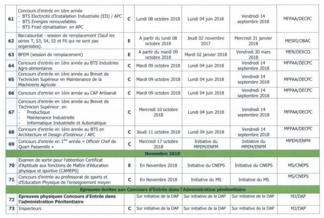 Calendrier concours 2018 Sénégal 6