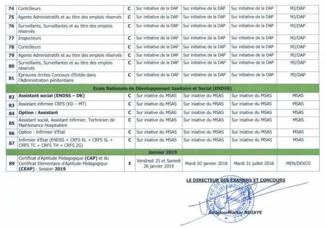 Calendrier concours 2018 Sénégal 7