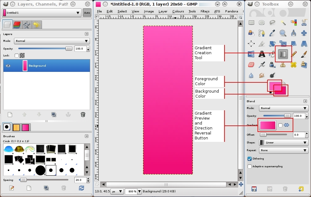 Creating a Gradient Strip with GIMP