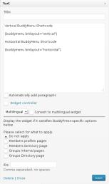 BuddyMenu Shortcode in a text widget on a BuddyPress WPML site on a WordPress Multisite