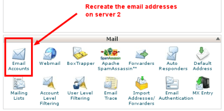 Image 3: Recreate email accounts on server 2