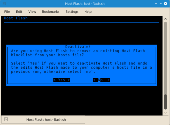 Host Flash detects whether it has been used before by the system. This check is based on the presence of the hosts file backup. Host Flash can remove the hosts file block list it installed into a hosts file without need to restore the original hosts file.