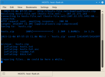 Host Flash indicates its activity as it executes. If there is a problem with Host Flash, run the program manually (sh host-flash.sh) instead of clicking the host-flash.sh to launch the program. This will give you opportunity to diagnose where it is getting stuck.