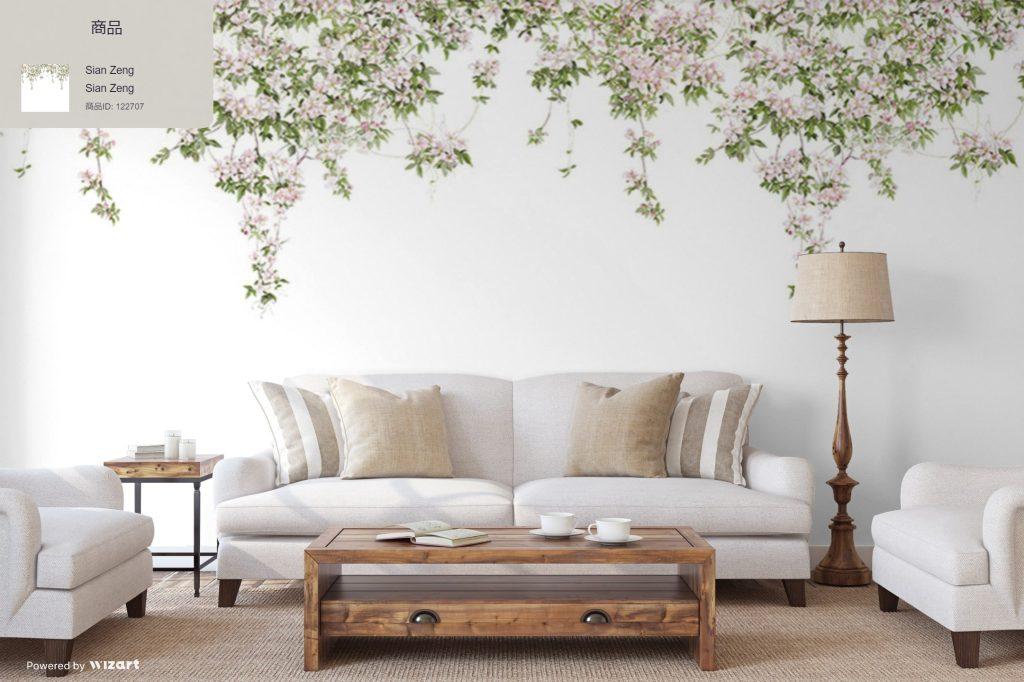 「Sian Zeng / Clematis Mural Wallpaper / White」