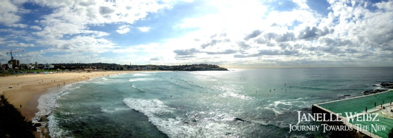 Bondi Beach panorama, quieter in the morning, works for me as I can learn to surf in peace!