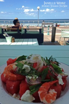 "Post-surfing lunch at the ""Bucket List"" cafe on Bondi Beach. Watermelon Tiger Prawn salad!"
